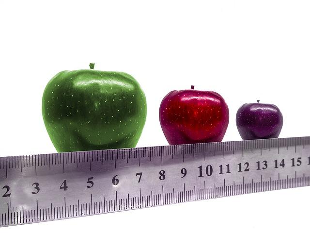 サイズの違うリンゴ